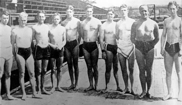 Members of the Australasian team that competed at the Games of the V Olympiad, Stockholm 1912. George Hill (third from right) and Malcolm Champion (fifth from right) are Aucklanders. Photo: New Zealand Olympic Museum Collection.
