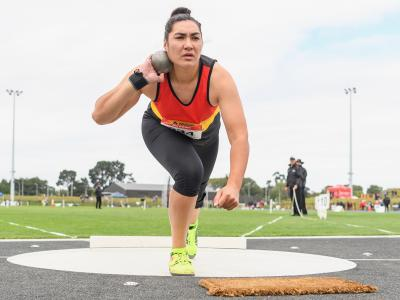 Lisa Adams heaves a world's best throw on day two of Track and Field National Champs